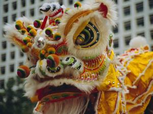 Costume Head, Lion Dance, Hong Kong, China by Fraser Hall