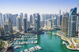High View of Dubai Marina, Dubai, United Arab Emirates, Middle East by Fraser Hall