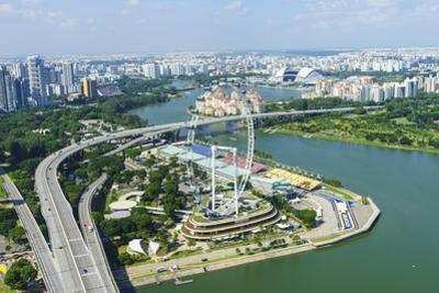 High View over Singapore with the Singapore Flyer Ferris Wheel and Ecp Expressway, Singapore
