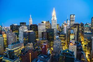 Manhattan skyline, Empire State Building and Chrysler Building, New York City, United States of Ame by Fraser Hall