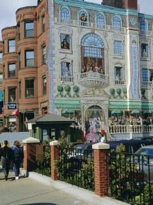Mural of Famous Boston Characters, Newbury Street, Back Bay, Boston, Massachusetts, USA by Fraser Hall