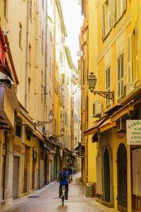 Narrow street in the Old Town, Vieille Ville, Nice, Alpes-Maritimes, Cote d'Azur, Provence, French  by Fraser Hall