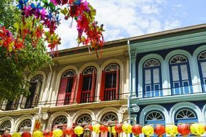 Restored and Colourfully Painted Old Shophouses in Chinatown, Singapore, Southeast Asia, Asia by Fraser Hall