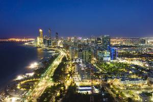 Skyline and Corniche, Al Markaziyah District by Night, Abu Dhabi, United Arab Emirates, Middle East by Fraser Hall