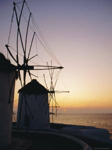 The Lower Windmills (Kato Myli) at Sunset, Mykonos, Cyclades Islands, Greece, Europe by Fraser Hall