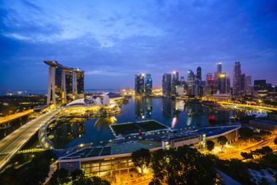The Towers of the Central Business District and Marina Bay by Night, Singapore, Southeast Asia
