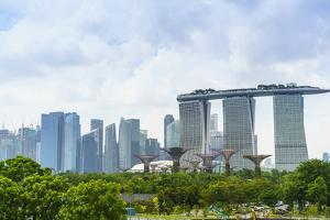 View over Gardens by Bay to Three Towers of Marina Bay Sands Hotel and City Skyline Beyond by Fraser Hall