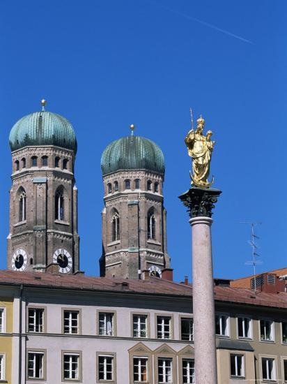 Frauenkirche Towers and Mariensaule (St. Mary's Column), Munich, Bavaria, Germany-Yadid Levy-Photographic Print
