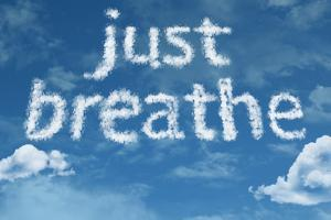 Amazing Just Breathe Text on Clouds by Frazao