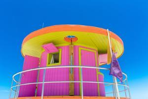 Pink Lifeguard House in Typical Architecture during Summer Day in Miami Beach, Florida, USA by Frazao