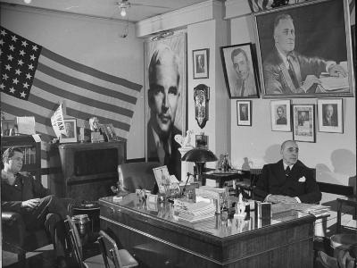 Fred Bays Sitting at His Desk at the Democratic State Headquarters-Hansel Mieth-Premium Photographic Print