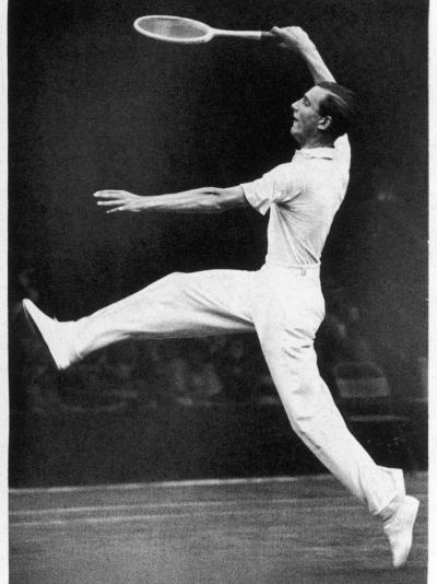 Fred. J. Perry Playing on the Centre Court at Wimbledon--Photographic Print