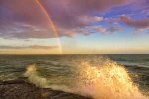 USA, New York, Lake Ontario, Clark's Point. Double rainbow over lake. by Fred Lord