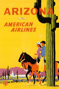 Arizona - American Airlines - Riders on Horseback - Saguaro Cactus, State Flower of Arizona by Fred Ludekens