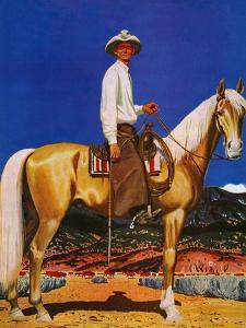 """""""Cowboy on Palomino,"""" September 18, 1943 by Fred Ludekens"""