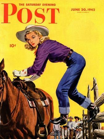 """Woman at Dude Rance,"" Saturday Evening Post Cover, June 20, 1942"