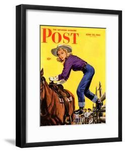 """""""Woman at Dude Rance,"""" Saturday Evening Post Cover, June 20, 1942 by Fred Ludekens"""