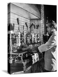Waiter Using Espresso Machine in Restaurant at Cafe Partenopea by Fred Lyon