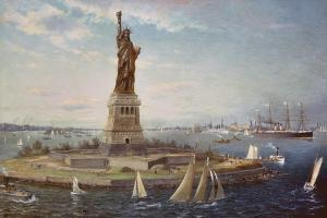 Liberty Island, New York Harbor, 1883 by Fred Pansing