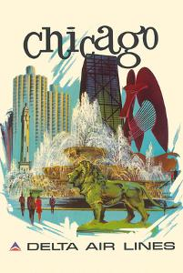 Chicago, Illinois - Buckingham Fountain, Marina City - Delta Air Lines by Fred Sweney
