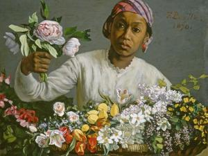 Young Woman with Peonies, 1870 by Frederic Bazille