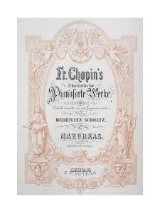 Frederic Chopin (1810-1849). Polish Composer. Frontispiece of a Mazurka for the Pianoforte. Music…