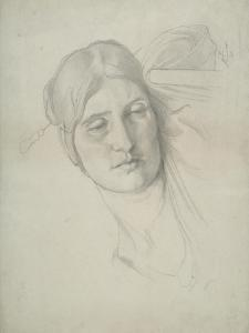 Study of a Female Head Leaning on a Chair, 1853 by Frederic Leighton