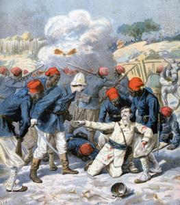 Death of Lieutenant Lecerf, Battle of Napa, Nigeria, 1894 by Frederic Lix