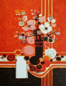 Bouquet Fond Rouge by Frédéric Menguy