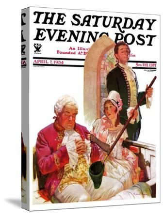 """""""Sleeping in Church,"""" Saturday Evening Post Cover, April 7, 1934"""
