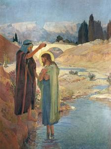 The Baptism of Christ in the Waters of the Jordan, 1917 by Frederic Montenard