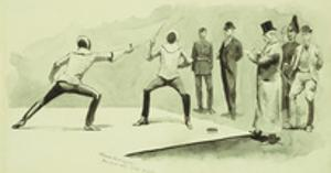 Fencing at Dickel's Academy by Frederic Sackrider Remington