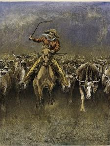 In a Stampede by Frederic Sackrider Remington