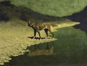 Moonlight, Wolf by Frederic Sackrider Remington
