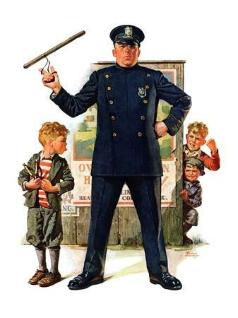 """""""Policeman and Boy with Slingshot,""""March 15, 1930"""