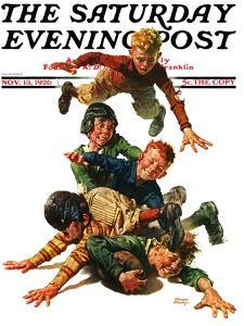 """""""Tackle,"""" Saturday Evening Post Cover, November 13, 1926 by Frederic Stanley"""