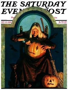 """""""Witch Carving Pumpkin,"""" Saturday Evening Post Cover, October 27, 1928 by Frederic Stanley"""