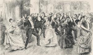Cotillion Dancing in a Fashionable London Ballroom by Frederick Barnard
