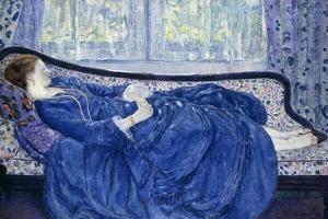 Girl in Blue, 1917 by Frederick Carl Frieseke