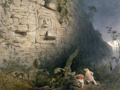 Colossal Head at Izamal, from 'Views of Ancient Monuments in Central America, Chiapas and… by Frederick Catherwood