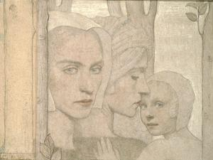 The Two Sisters, 1908 (Pencil and Chalk on Paper) by Frederick Cayley Robinson