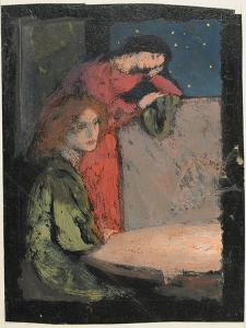 Two Girls by a Table Look Out on a Starry Night, 1905 by Frederick Cayley Robinson