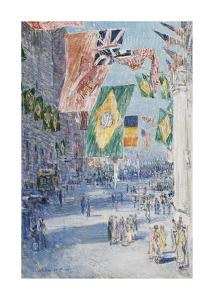 Avenue of the Allies: Brazil, Belgium, 1918 by Frederick Childe Hassam