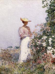 Lady in Flower Garden by Frederick Childe Hassam