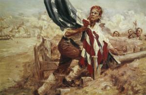 Sgt William Jasper Replacing the Flag (Cont) by Frederick Coffay Yohn