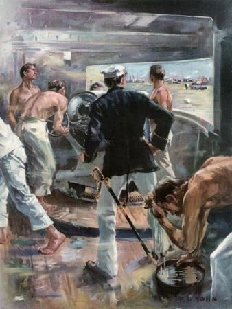 The Battle of Manila Bay. - Fighting a Six-Inch Gun on Board the Olympia