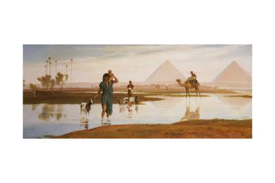 Overflow of the Nile, with the Pyramids