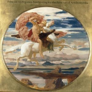 Perseus on Pegasus Hastening to the Rescue of Andromeda by Frederick Leighton