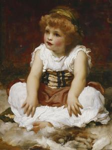 Portrait of a Girl seated on a Rug by Frederick Leighton