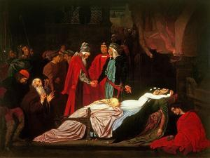 The Reconciliation of the Montagues and the Capulets over the Dead Bodies of Romeo and Juliet by Frederick Leighton